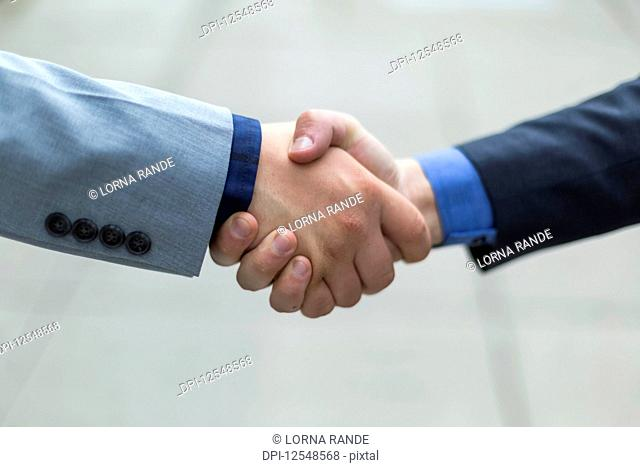 Two young men shaking hands; Bothell, Washington, United States of America