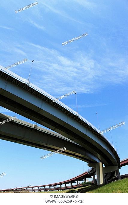 Japan, Tokyo Prefecture, Adachi Ward, Metropolitan Expressway, low angle view