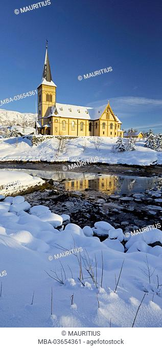Church in Vagan (municipality), Ausvagoya (island), Lofoten, 'Nordland' (county), Norway