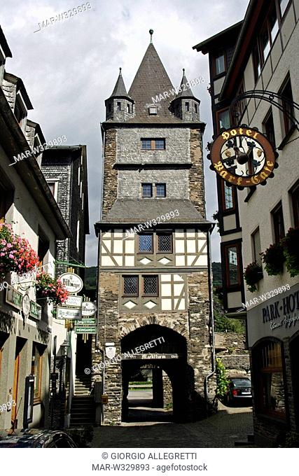 half-timbered building, bacharach, rhine valley, germany, europe