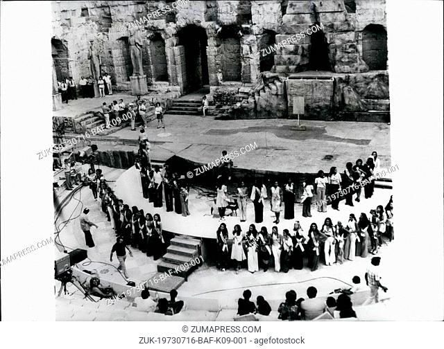 Jul. 16, 1973 - July 16th, 1973 Preparing for the Miss Universe contest ?¢'Ǩ'Äú Beauties from 72 countries have gathered in Athens for the forthcoming Miss...