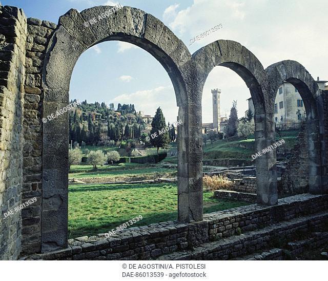 Ruins of the Roman Baths, Fiesole, Tuscany, Italy. Roman civilisation, 1st century BC