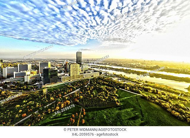 Vienna, skyline, Danube city, DC Tower 1, 2013, highest building of Vienna, 250 m, architect Dominique Perrault, Austria, 22. District, Donaucity