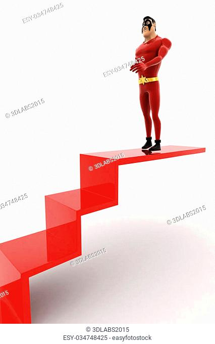 3d superhero walking down from red arrow concept on white background, side angle view