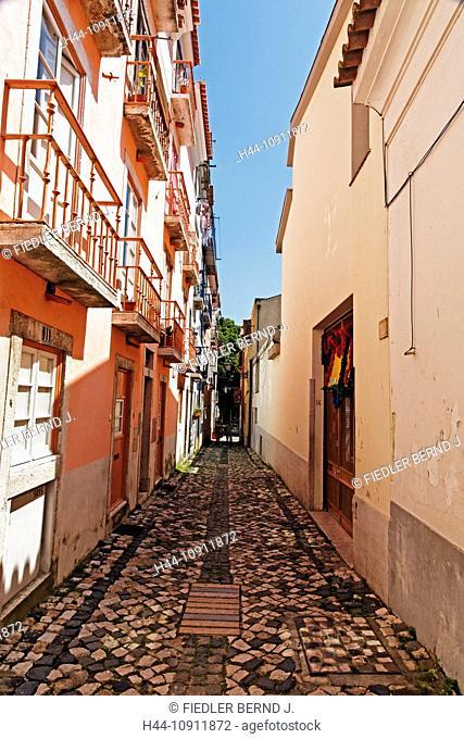 Portugal, Europe, Lisbon, Lisboa, Alfama, house front, Rua de Santa Cruz do Castelo, fortress area, street, building, construction, architecture, trees, plants