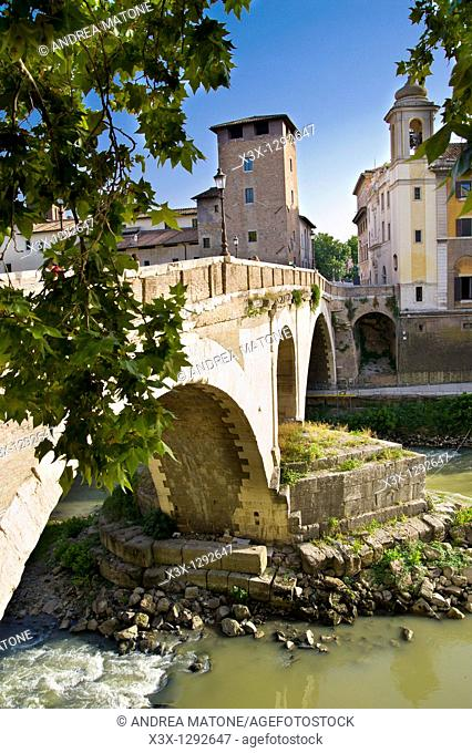 The Fabricio Bridge leading to the Tiber Island, Rome, Italy
