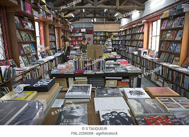 Four people inside bookshop, Beijing, China