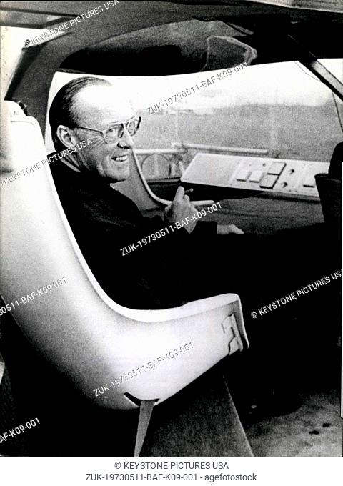 May 11, 1973 - Prince Bernhard of The Netherlands comes to Munich, to see for himself the new transport technology Prince Bernhard of the Netherlands visited...