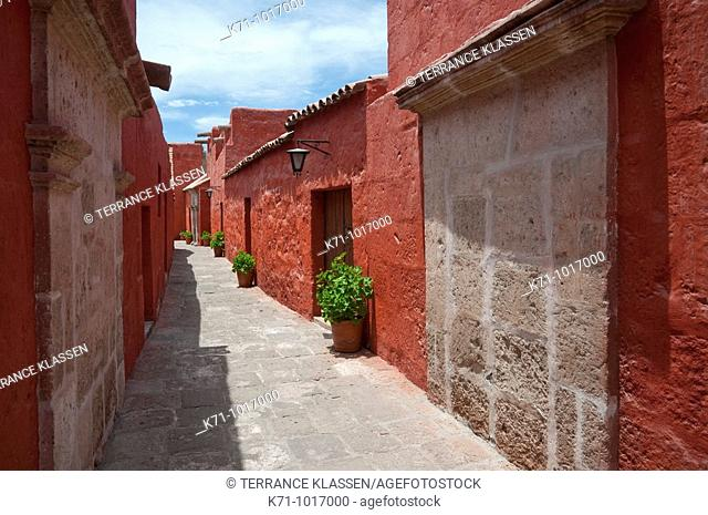 Interior courtyards and architecture of the Santa Catalina Monastery in Arequipa, Peru, South America
