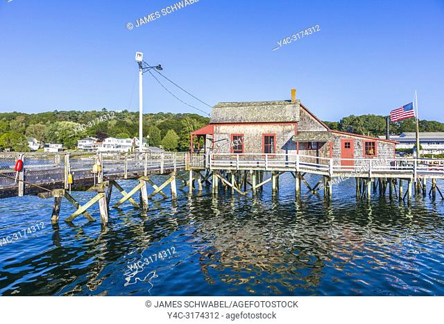 The Footbridge built 1901 over the harbor in Boothbay Harbor Maine in the United Dtates