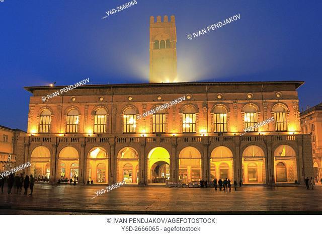 Piazza Maggiore at Night, Bologna, Italy