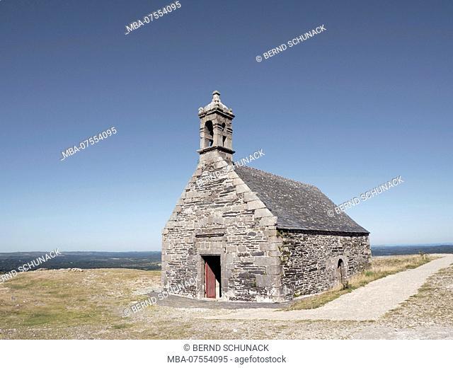 Saint Michael's Chapel on the summit of Mont Saint-Michel de Brasparts, Finistère Department, Brittany