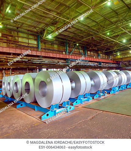 Rolls of steel sheet stored in steel pant