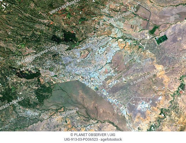 Colour satellite image of Nairobi, Kenya. Image taken on February 3, 2014 with Landsat 8 data