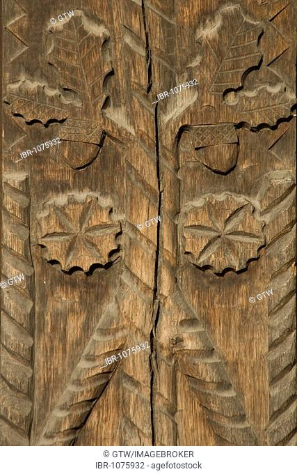Carved wooden portal with leaves and acorns, Maramures, Romania