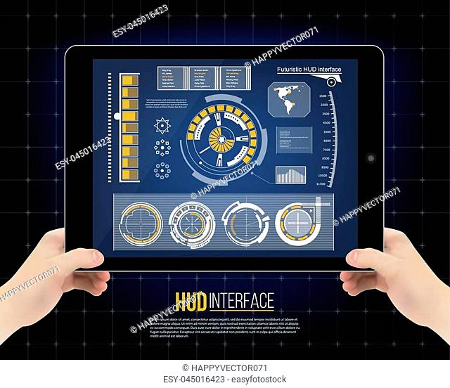 Abstract future, concept vector futuristic blue virtual graphic touch user interface HUD. For web, site, mobile applications isolated on background, techno
