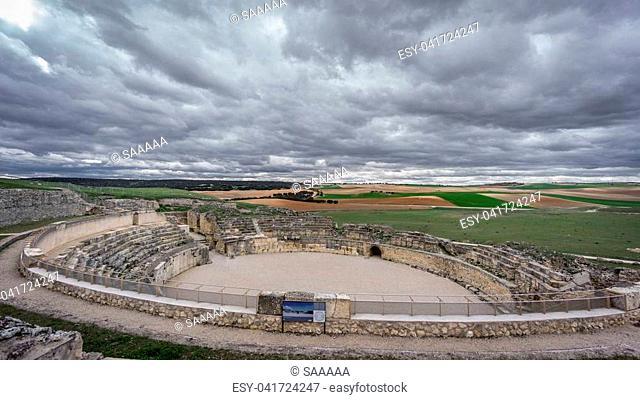 Wide angle of antique Segobriga roman theatre ruins