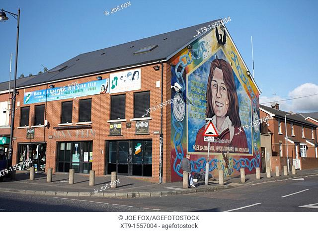 Sinn Fein office and Bobby Sands Mural, Falls Road, Belfast, Northern Ireland, UK