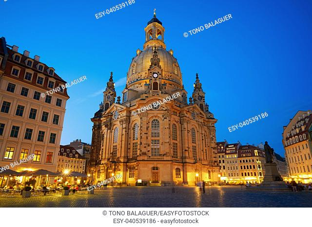 Dresden sunset Frauenkirche Lutheran church in Saxony of Germany