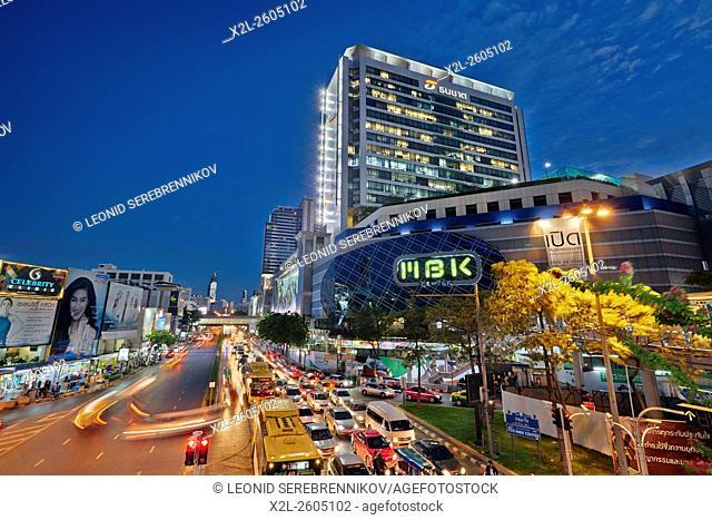 Phayathai Road and MBK Shopping Center at dusk. Bangkok, Thailand