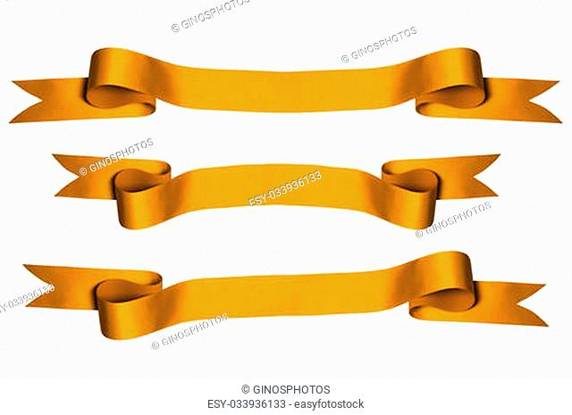 Gold ribbons with bank space for text - PHOTOGRAPH (With Clipping Paths)