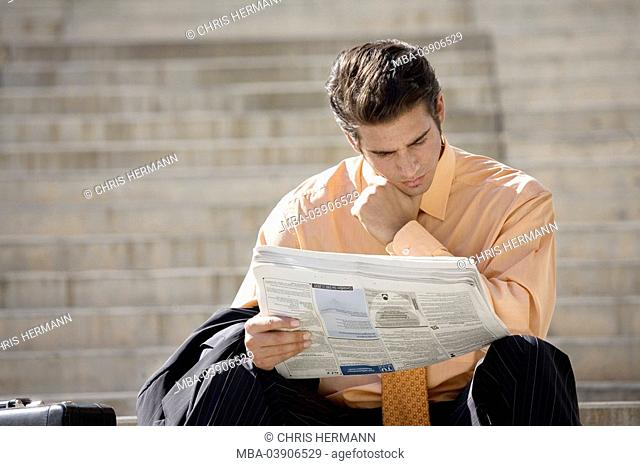 City, man, young, suit, file-suitcases, newspaper, sitting reads, position-ads, thoughtfully, business, free-stairway, stairway-ascent, steps, people, managers