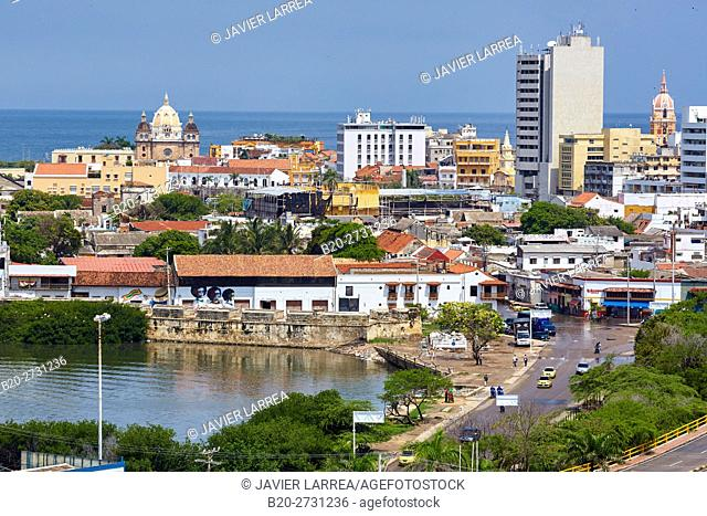 Views from the Castillo San Felipe, Cartagena de Indias, Bolivar, Colombia, South America