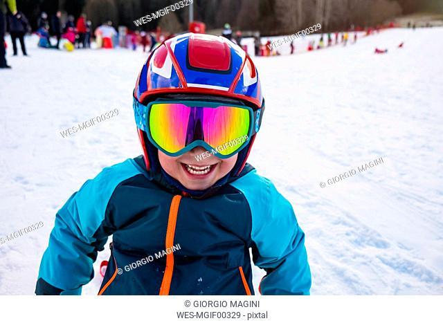 Italy, Trentino-Alto Adige, portrait of happy on ski piste