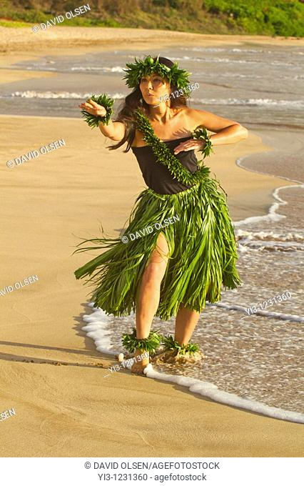 Hula on the beach at Palauea, Maui, Hawaii