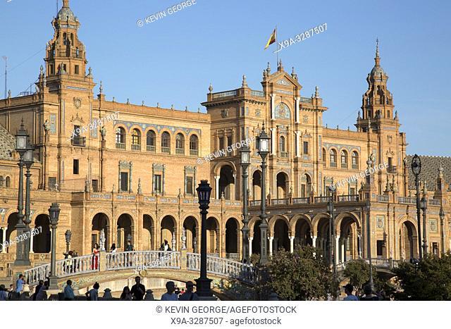 Tourists at Plaza de Espana Square; Seville; Spain
