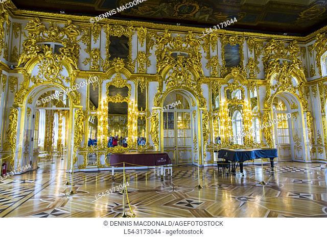 "Catherine's Palace at Pushkin inside St Saint Petersburg, Russian Sankt Peterburg, formerly (1914â. ""24) Petrograd and (1924â"
