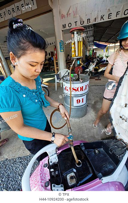 Asia, Thailand, Trat Province, Koh Chang, Female, Woman, Asian Woman, Thai Woman, Thai, Woman Working, Petrol, Gasoline, Energy, Petrol Station, Gas Station