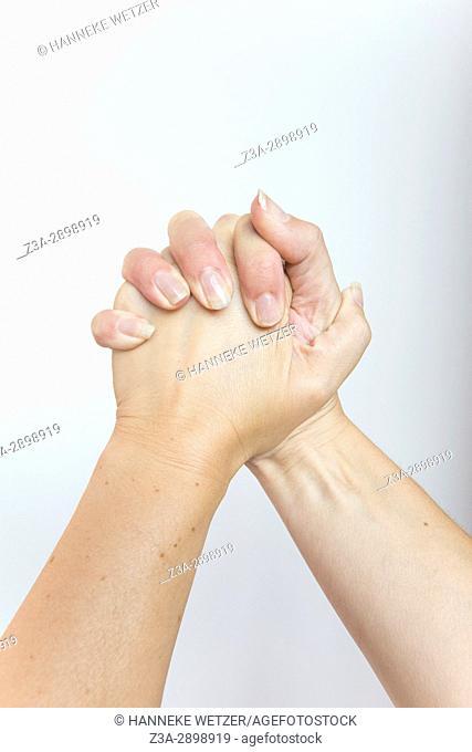 Squeezing hands