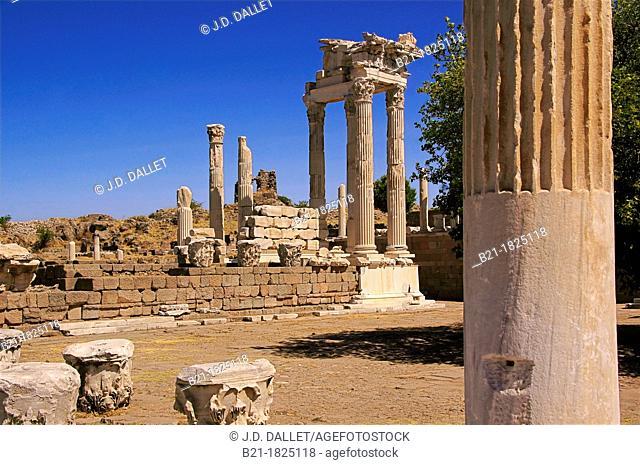 Temple of Trajan at Pergamon. Pergamon or Pergamum, was an ancient Greek city in modern-day Turkey, in Aeolis, today located 16 miles 26 km from the Aegean Sea...