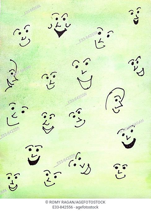 Conceptual illustration showing happy people