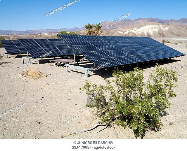 Solar panels in the immediate vicinity of the Furnace Creek Visitor Center in the Death Valley. Death Valley National Park, California, USA