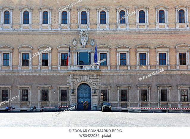 ROME, ITALY - JUNE 29, 2014: French Embassy Palace Farnese With Security Guards in Rome, Italy