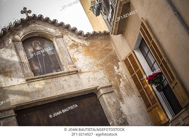 Facade building Convent of Santa Clara, founded in13th century, Palma, Balearic Islands