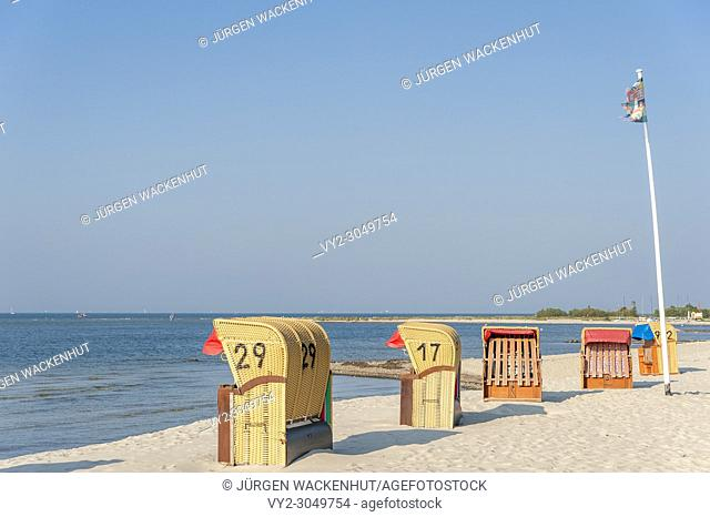 Beach with canopied wicker beach chairs, Laboe, Baltic Sea, Schleswig-Holstein, Germany, Europe