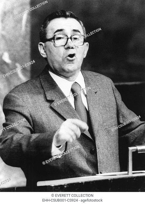 Andrei Gromyko addressing a United Nations session on raw materials in developing countries. May 1974. The Soviet Foreign Minister denounced western oil...