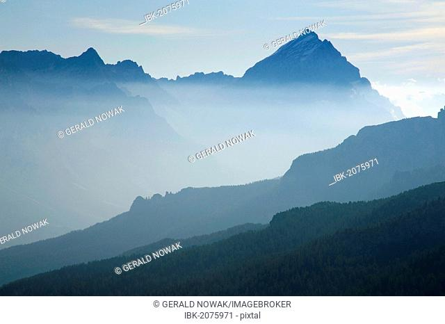 Early morning mist on Mt Kleiner Lagazuoi, Dolomites, South Tyrol, Italy, Europe
