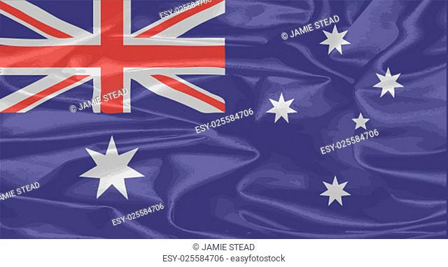 The flag of Australia with silk effect background