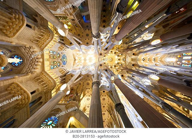 La Sagrada Familia Church, by the architect Antoni Gaudi, Eixample district, Barcelona, Catalonia, Spain
