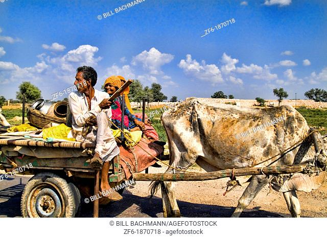 Gypsy family going by with cow driven cart to look for land at Great Indian Thar Desert in Jodhpur Rajasthan India
