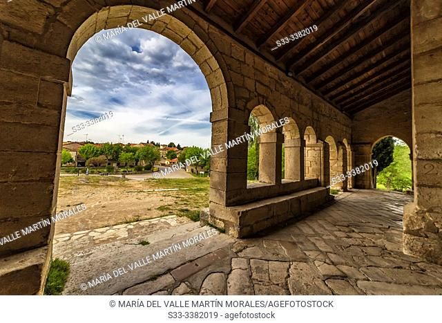 La Asuncion church and Tamajon village on the background Guadalajara. Spain. Europe