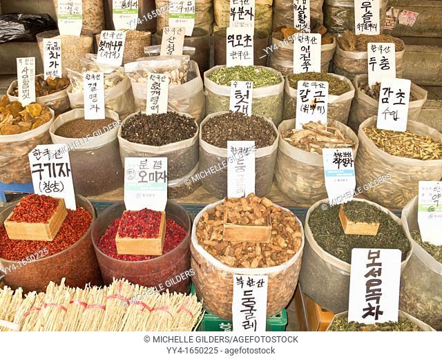 Grains, herbs, berries and bark for sale, Gyeongdong market, medicine market, Seoul, South Korea