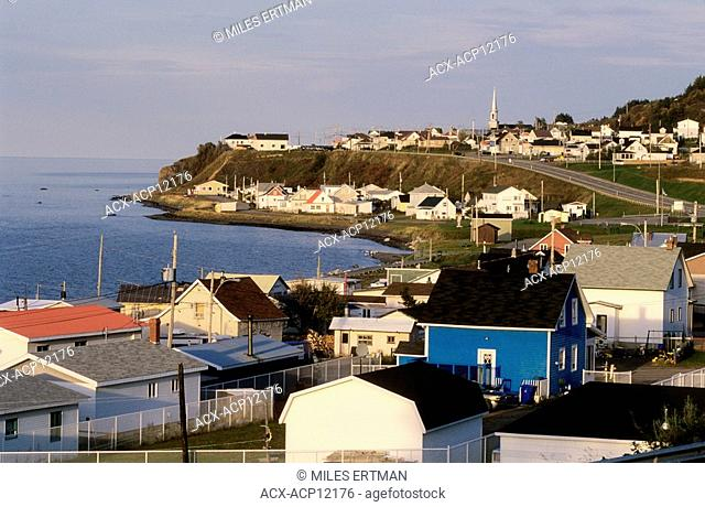 Overview of town of Sainte Anne des Monts, Gaspe Peninsula, Quebec, Canada