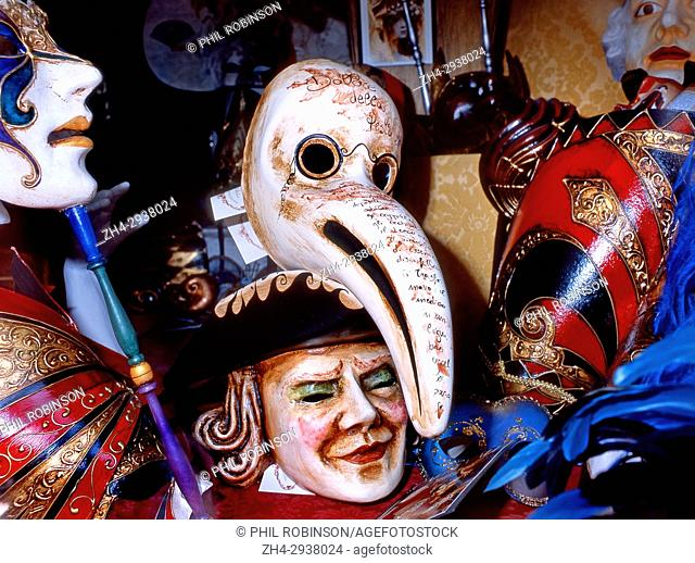 Venice, Veneto, Italy. Shop window with traditional carnival masks
