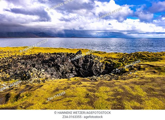 A hole in the ground of Snaefellsnes peninsula, Iceland