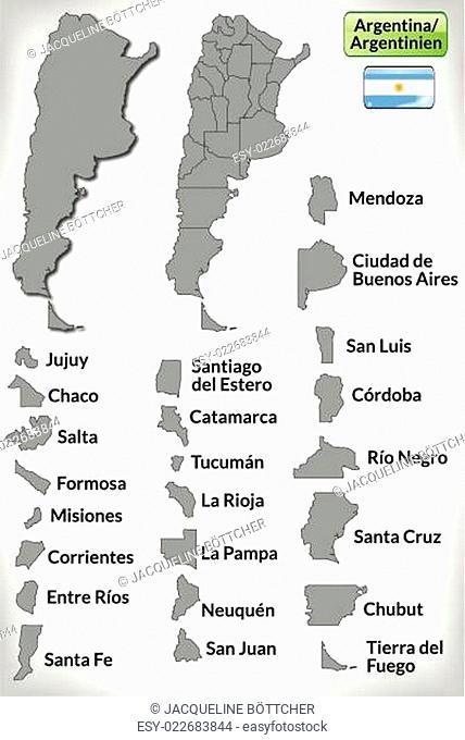 Karte von Argentinien mit Grenzen in Grau